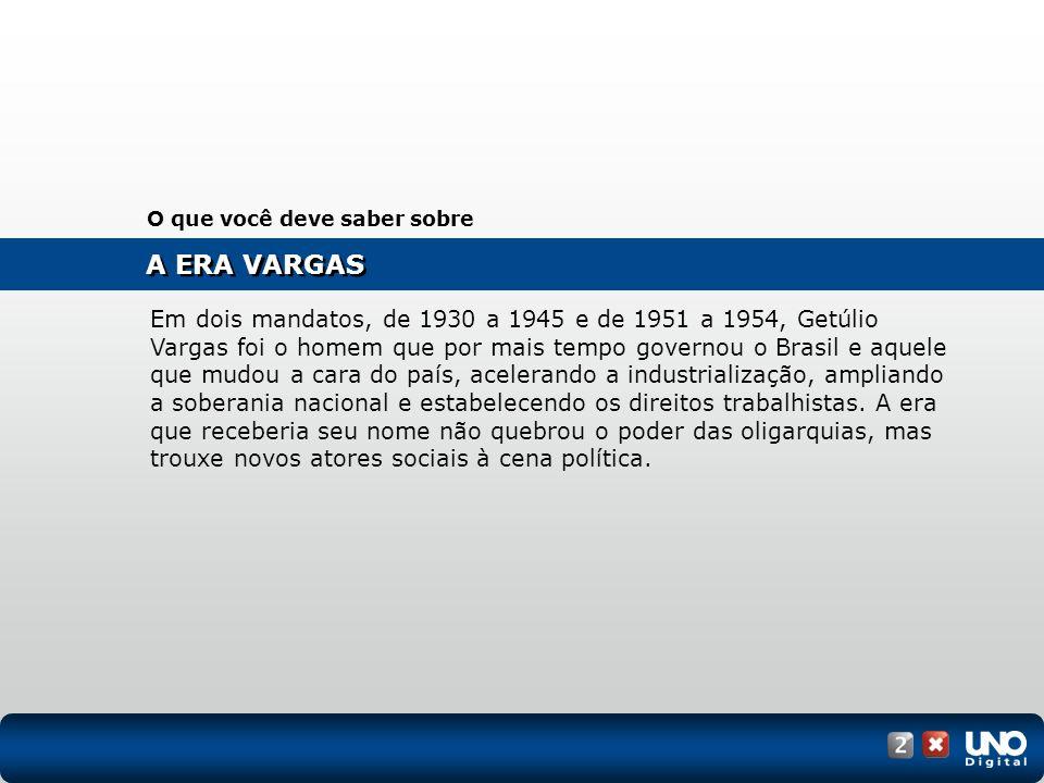 A ERA VARGAS O que você deve saber sobre Em dois mandatos, de 1930 a 1945 e de 1951 a 1954, Getúlio Vargas foi o homem que por mais tempo governou o B