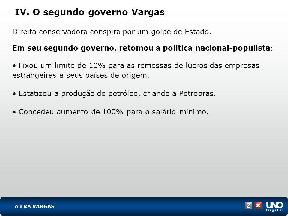 IV. O segundo governo Vargas Direita conservadora conspira por um golpe de Estado. Em seu segundo governo, retomou a política nacional-populista: Fixo