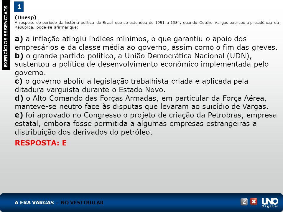 (Unesp) A respeito do período da história política do Brasil que se estendeu de 1951 a 1954, quando Getúlio Vargas exerceu a presidência da República,