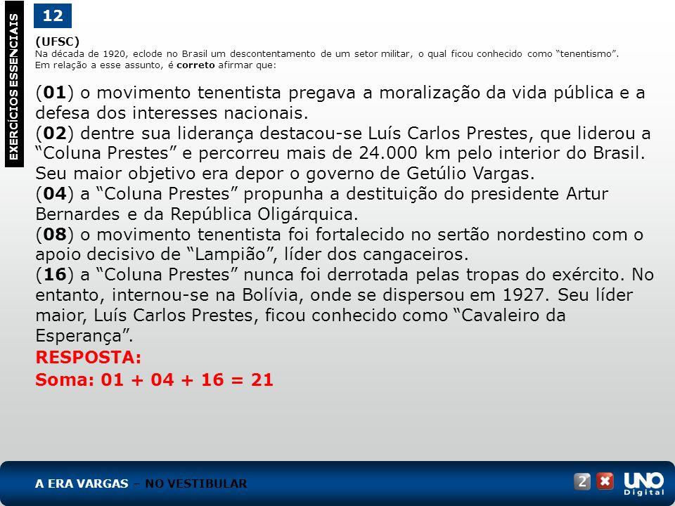 (UFSC) Na década de 1920, eclode no Brasil um descontentamento de um setor militar, o qual ficou conhecido como tenentismo. Em relação a esse assunto,