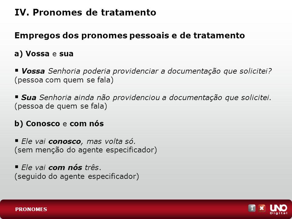 IV. Pronomes de tratamento Empregos dos pronomes pessoais e de tratamento a) Vossa e sua Vossa Senhoria poderia providenciar a documentação que solici