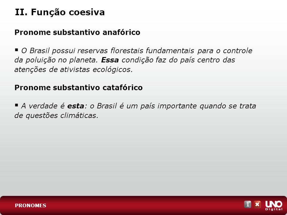 II. Função coesiva Pronome substantivo anafórico O Brasil possui reservas florestais fundamentais para o controle da poluição no planeta. Essa condiçã