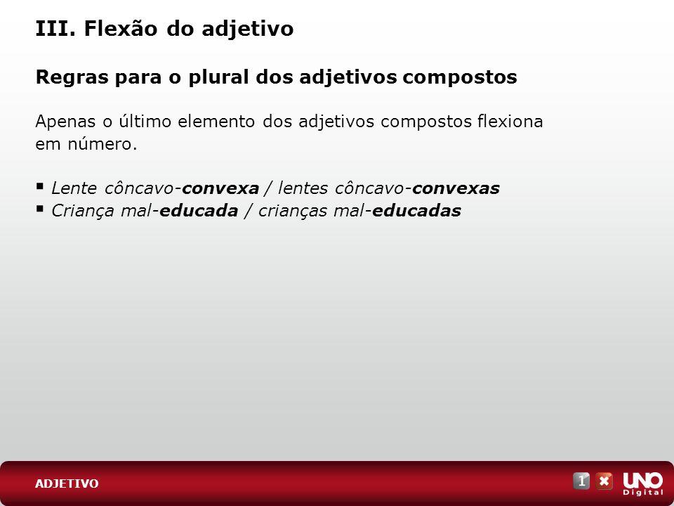 III. Flexão do adjetivo Regras para o plural dos adjetivos compostos Apenas o último elemento dos adjetivos compostos flexiona em número. Lente côncav
