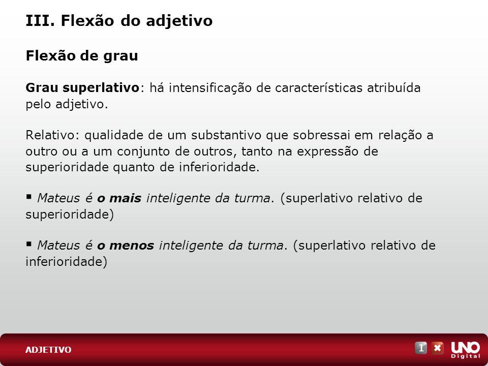 III. Flexão do adjetivo Flexão de grau Grau superlativo: há intensificação de características atribuída pelo adjetivo. Relativo: qualidade de um subst