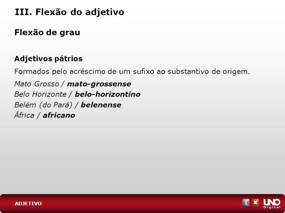 III. Flexão do adjetivo Flexão de grau Adjetivos pátrios Formados pelo acréscimo de um sufixo ao substantivo de origem. Mato Grosso / mato-grossense B