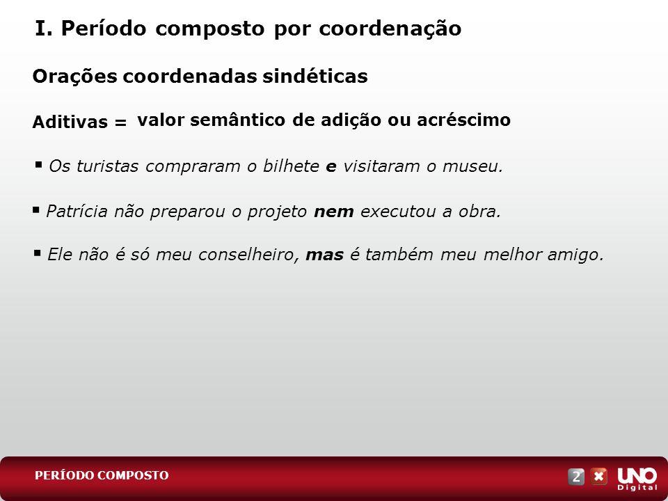Orações coordenadas sindéticas Aditivas = I. Período composto por coordenação PERÍODO COMPOSTO valor semântico de adição ou acréscimo Os turistas comp