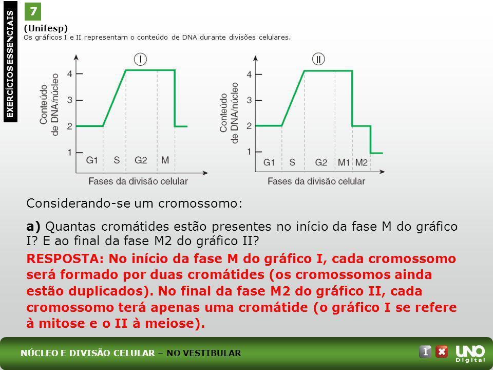(Unifesp) Os gráficos I e II representam o conteúdo de DNA durante divisões celulares. 7 EXERC Í CIOS ESSENCIAIS Considerando-se um cromossomo: a) Qua