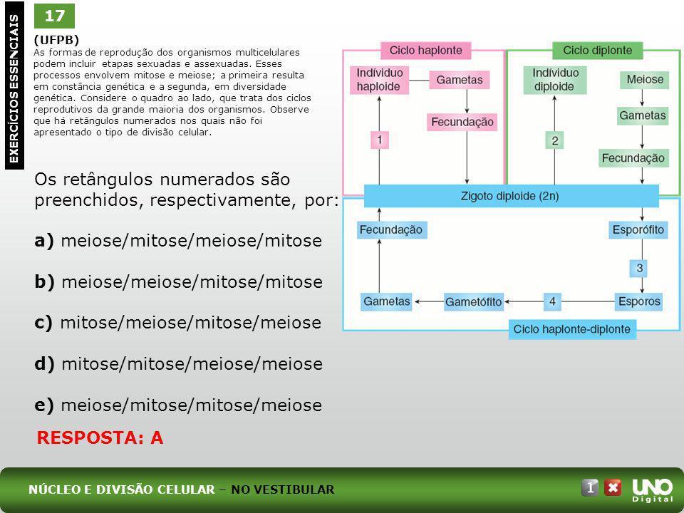 (UFPB) As formas de reprodução dos organismos multicelulares podem incluir etapas sexuadas e assexuadas. Esses processos envolvem mitose e meiose; a p
