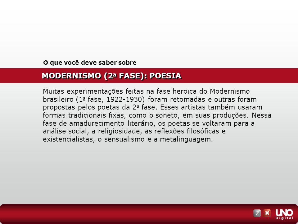 MODERNISMO (2 a FASE): POESIA O que você deve saber sobre Muitas experimentações feitas na fase heroica do Modernismo brasileiro (1 a fase, 1922-1930)