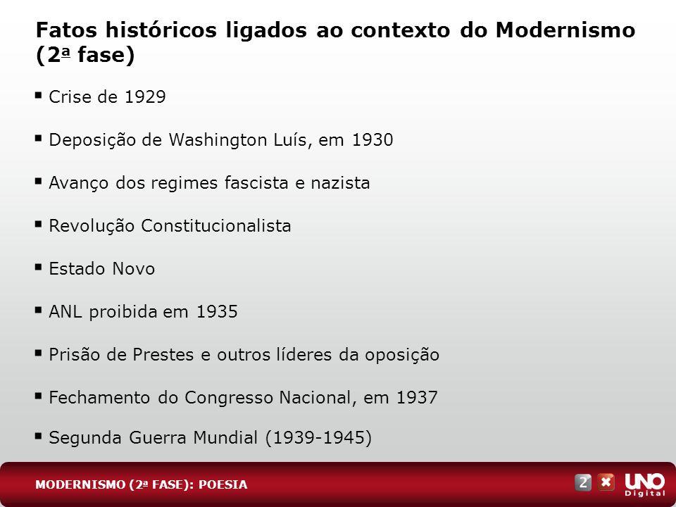 Fatos históricos ligados ao contexto do Modernismo (2 a fase) MODERNISMO (2 a FASE): POESIA Crise de 1929 Deposição de Washington Luís, em 1930 Avanço
