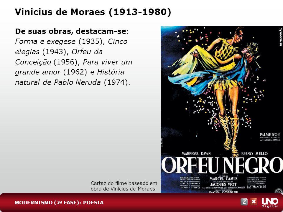 Vinicius de Moraes (1913-1980) De suas obras, destacam-se: Forma e exegese (1935), Cinco elegias (1943), Orfeu da Conceição (1956), Para viver um gran