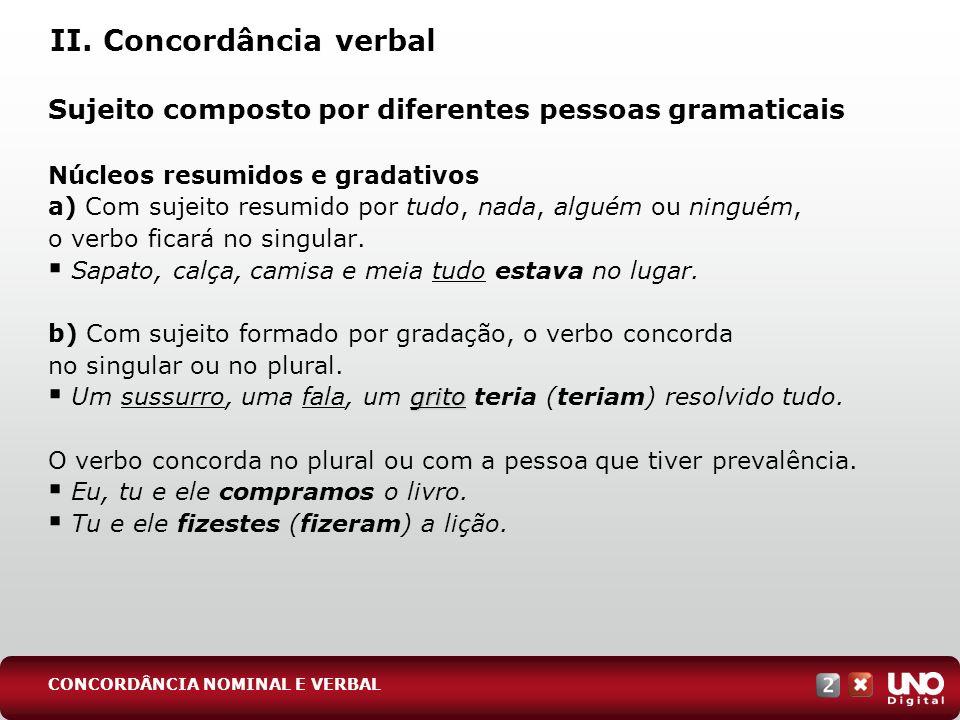 II. Concordância verbal Sujeito composto por diferentes pessoas gramaticais Núcleos resumidos e gradativos a) Com sujeito resumido por tudo, nada, alg