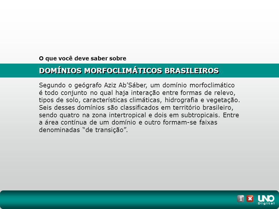 (Cesgranrio-RJ) Vegetação original do Brasil: Assinale a opção que contém apenas as formações florestais indicadas no mapa anterior: a) 1, 2 e 3 b) 1, 2 e 4 c) 1, 3 e 5 d) 2, 4 e 5 e) 3, 4 e 5 10 EXERC Í CIOS ESSENCIAIS RESPOSTA: C DOMÍNIOS MORFOCLIMÁTICOS BRASILEIROS NO VESTIBULAR