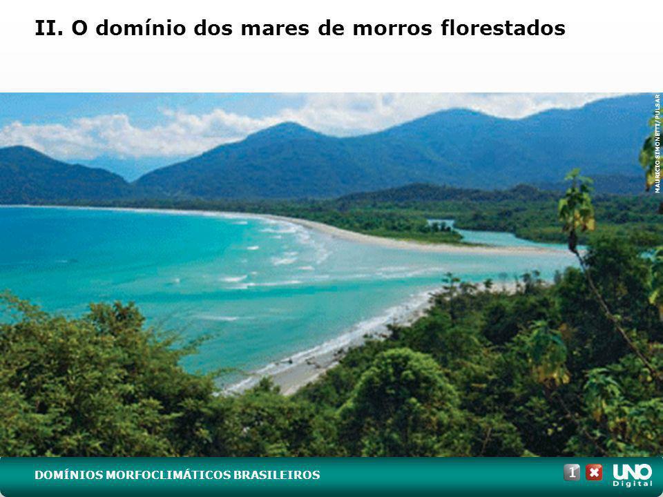 (UFSM-RS) No mapa do Brasil a seguir, podem-se identificar os domínios morfoclimáticos e fitogeográficos naturais, hoje bastante modificados pela ação humana.