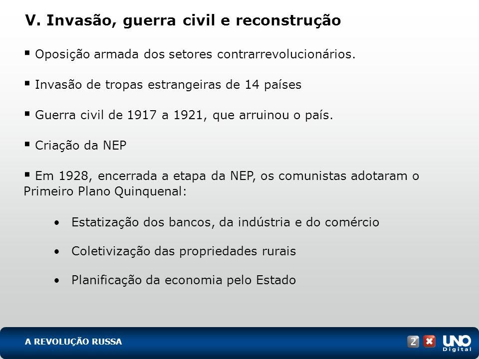 V. Invasão, guerra civil e reconstrução Oposição armada dos setores contrarrevolucionários. Invasão de tropas estrangeiras de 14 países Guerra civil d
