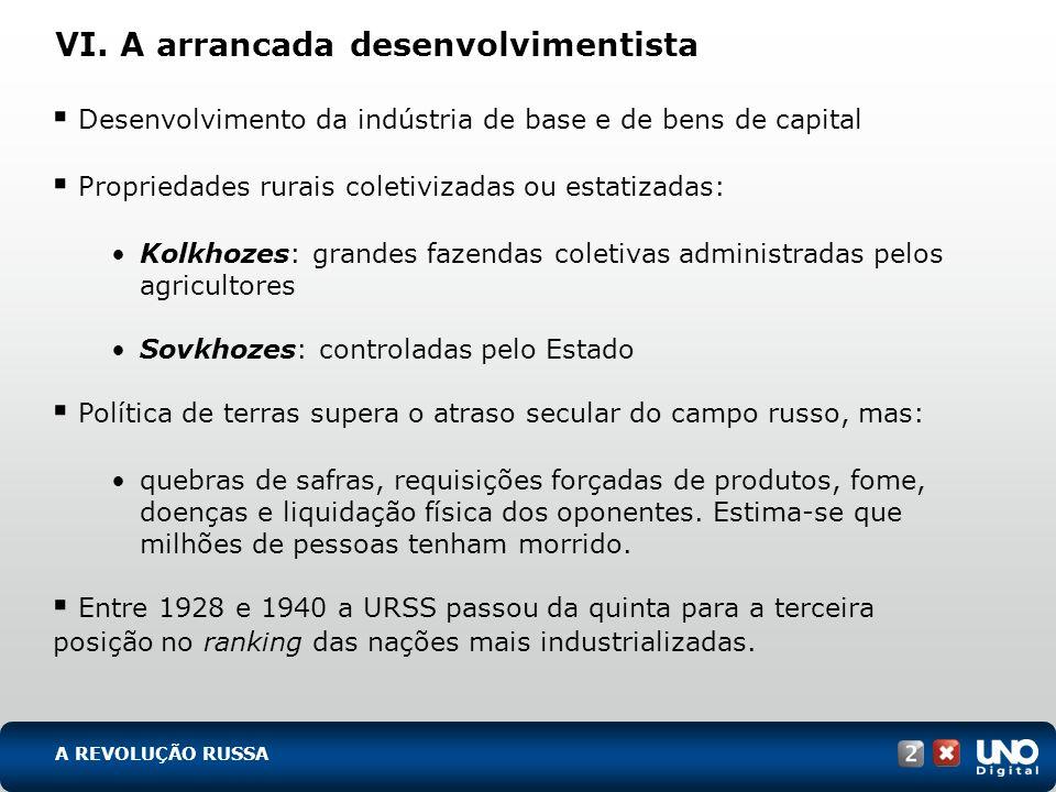 VI. A arrancada desenvolvimentista Desenvolvimento da indústria de base e de bens de capital Propriedades rurais coletivizadas ou estatizadas: Kolkhoz