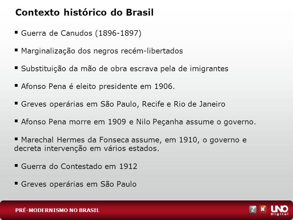 Guerra de Canudos (1896-1897) Marginalização dos negros recém-libertados Substituição da mão de obra escrava pela de imigrantes Afonso Pena é eleito p