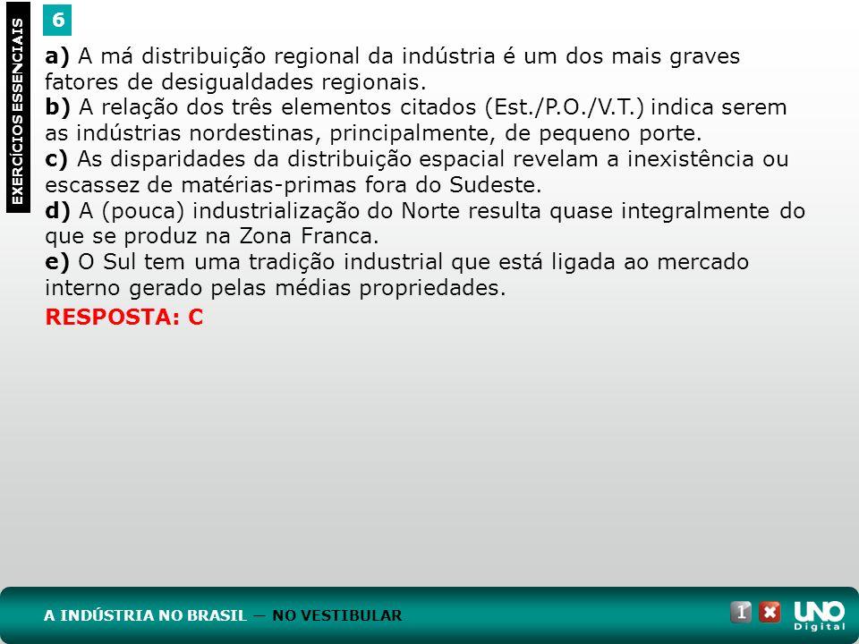 6 EXERC Í CIOS ESSENCIAIS RESPOSTA: C a) A má distribuição regional da indústria é um dos mais graves fatores de desigualdades regionais. b) A relação