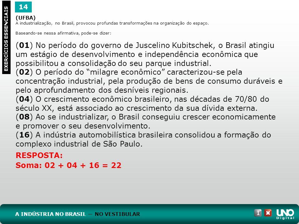 14 EXERC Í CIOS ESSENCIAIS RESPOSTA: Soma: 02 + 04 + 16 = 22 (UFBA) A industrialização, no Brasil, provocou profundas transformações na organização do