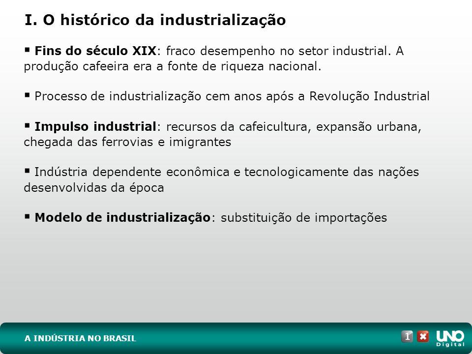 I. O histórico da industrialização A INDÚSTRIA NO BRASIL Fins do século XIX: fraco desempenho no setor industrial. A produção cafeeira era a fonte de