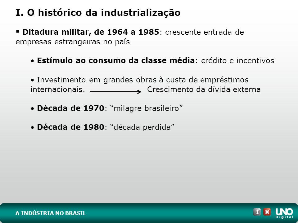 I. O histórico da industrialização Ditadura militar, de 1964 a 1985: crescente entrada de empresas estrangeiras no país Estímulo ao consumo da classe