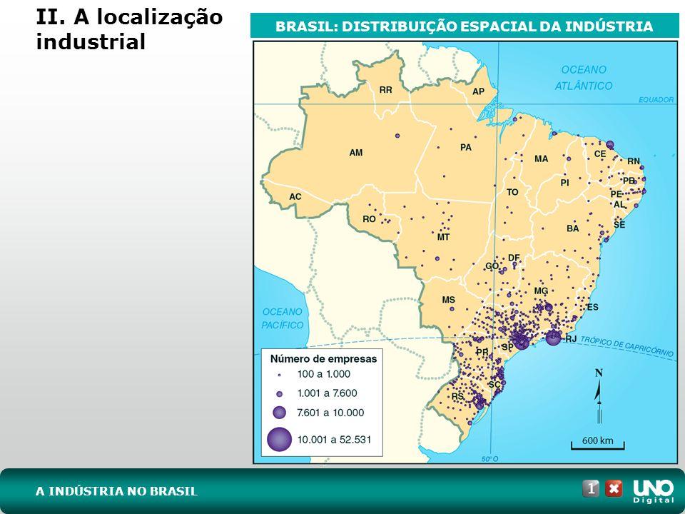II. A localização industrial A INDÚSTRIA NO BRASIL BRASIL: DISTRIBUIÇÃO ESPACIAL DA INDÚSTRIA