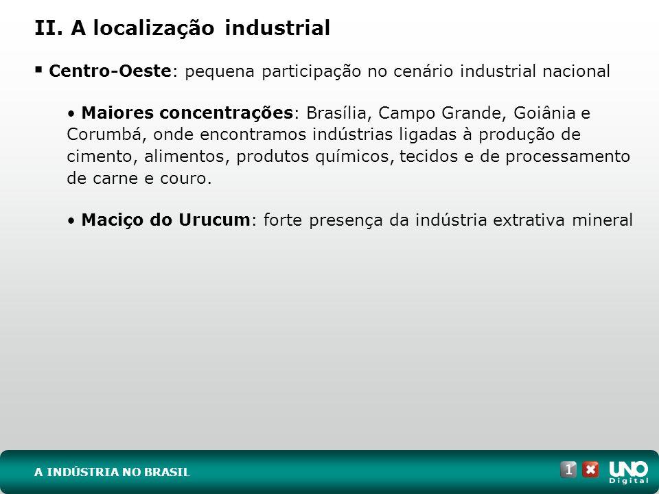 II. A localização industrial Centro-Oeste: pequena participação no cenário industrial nacional Maiores concentrações: Brasília, Campo Grande, Goiânia