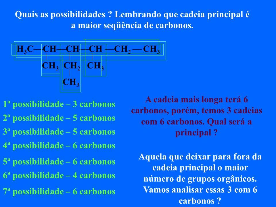 H 3 CCHCHCH CH 2 CH 3 CH 3 CH 2 CH 3 CH 3 A primeira opção, deixa para fora três grupos orgânicos A segunda opção, também deixa para fora três grupos orgânicos A terceira opção, deixa para fora dois grupos orgânicos Portanto a cadeia principal será a primeira ou segunda opção, pois ambas deixam para fora três grupos orgânicos.