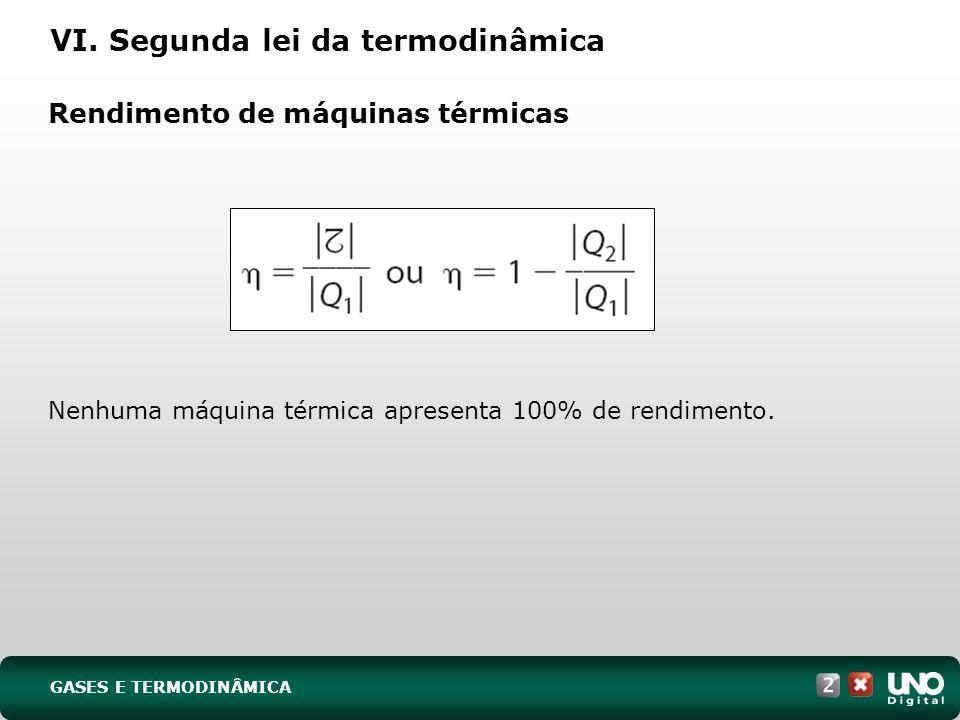 Rendimento de máquinas térmicas VI. Segunda lei da termodinâmica Nenhuma máquina térmica apresenta 100% de rendimento. GASES E TERMODINÂMICA