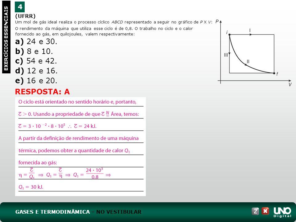 (UFRR) Um mol de gás ideal realiza o processo cíclico ABCD representado a seguir no gráfico de P X V: 4 EXERC Í CIOS ESSENCIAIS O rendimento da máquin