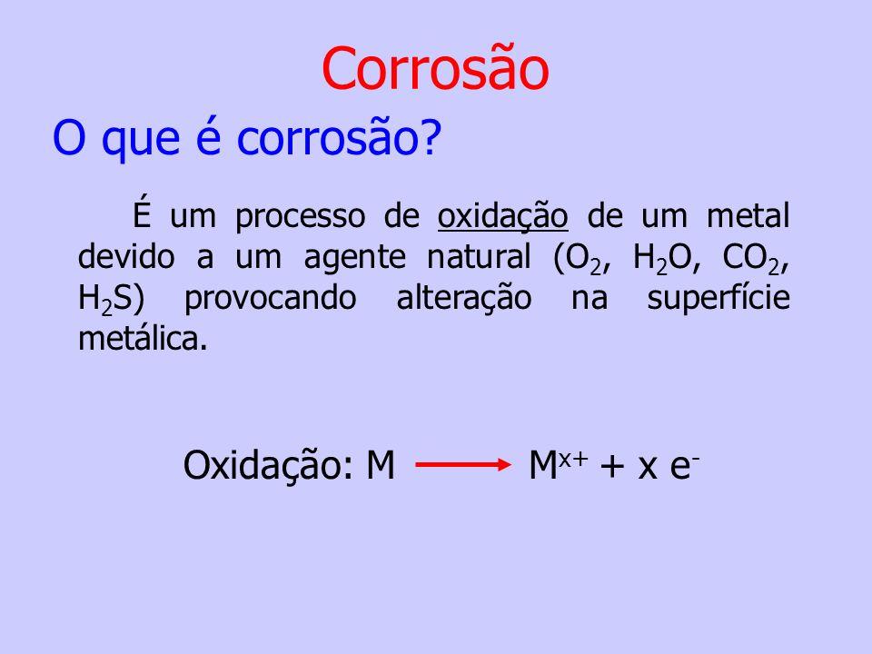 Oxidação: M M x+ + x e - É um processo de oxidação de um metal devido a um agente natural (O 2, H 2 O, CO 2, H 2 S) provocando alteração na superfície