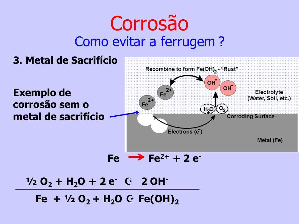 Exemplo de corrosão sem o metal de sacrifício Fe Fe 2+ + 2 e - ½ O 2 + H 2 O + 2 e - 2 OH - __________________________________ Fe + ½ O 2 + H 2 O Fe(O