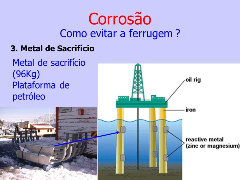 Corrosão Como evitar a ferrugem ? 3. Metal de Sacrifício Metal de sacrifício (96Kg) Plataforma de petróleo