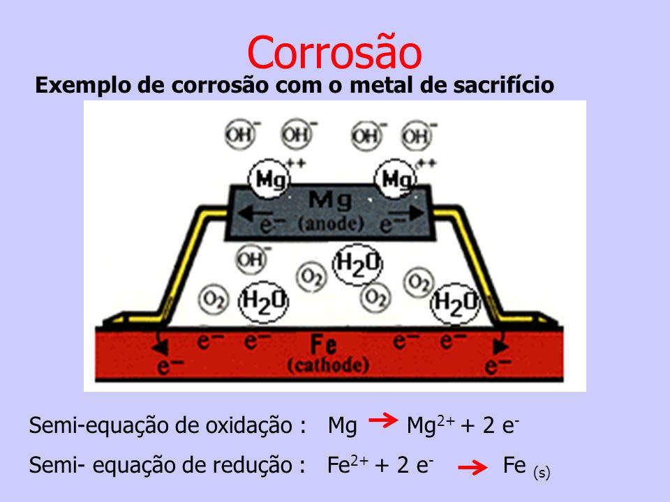Semi-equação de oxidação : Mg Mg 2+ + 2 e - Semi- equação de redução : Fe 2+ + 2 e - Fe (s) Exemplo de corrosão com o metal de sacrifício Corrosão