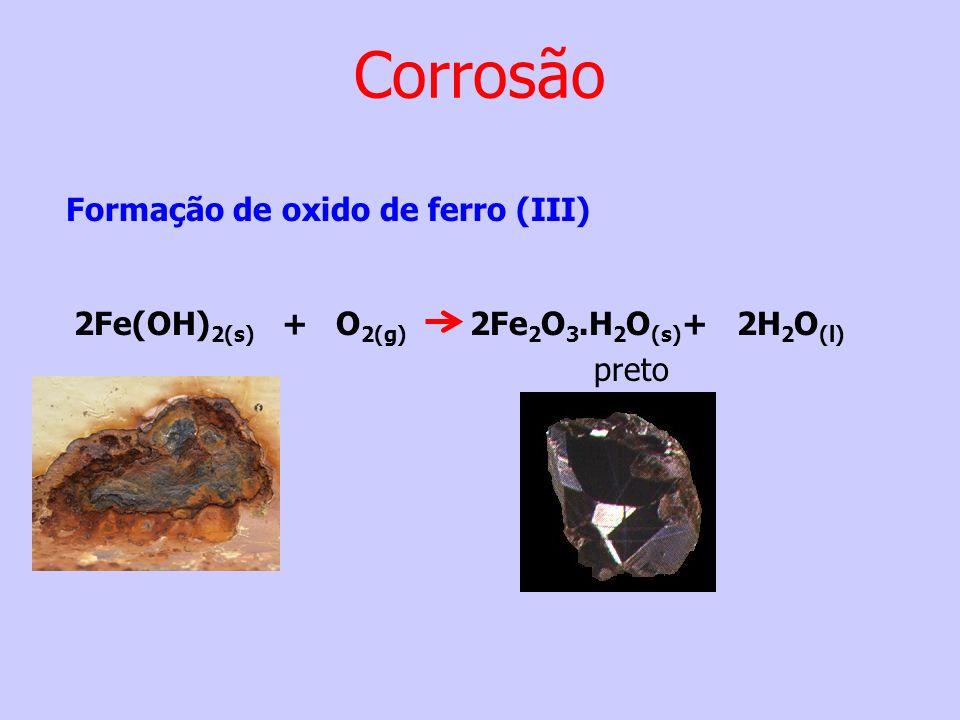 Formação de oxido de ferro (III) 2Fe(OH) 2(s) + O 2(g) 2Fe 2 O 3.H 2 O (s) + 2H 2 O (l) preto