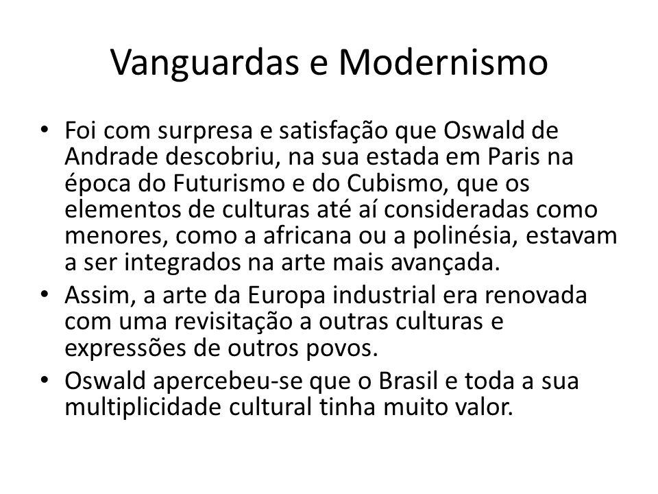 Vanguardas e Modernismo Foi com surpresa e satisfação que Oswald de Andrade descobriu, na sua estada em Paris na época do Futurismo e do Cubismo, que