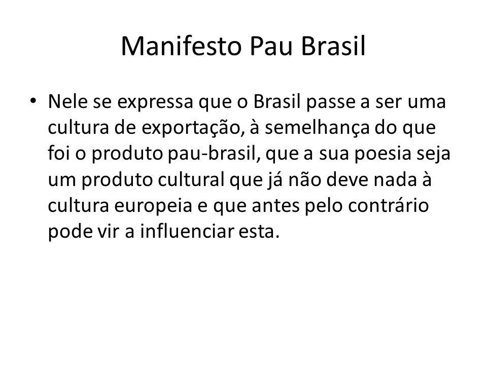 Manifesto Pau Brasil Nele se expressa que o Brasil passe a ser uma cultura de exportação, à semelhança do que foi o produto pau-brasil, que a sua poes