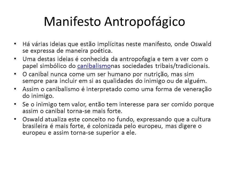 Manifesto Antropofágico Há várias ideias que estão implícitas neste manifesto, onde Oswald se expressa de maneira poética. Uma destas ideias é conheci