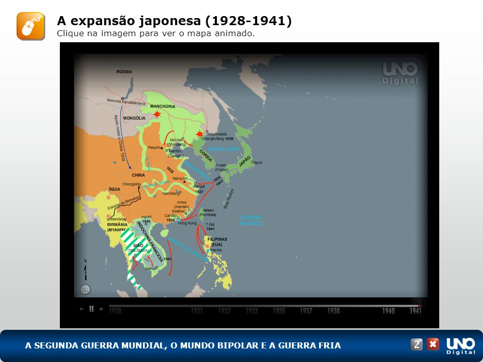 A SEGUNDA GUERRA MUNDIAL, O MUNDO BIPOLAR E A GUERRA FRIA Avanços ítalo-germânicos antes da Segunda Guerra Mundial (1935-1939) Clique na imagem para ver o mapa animado.