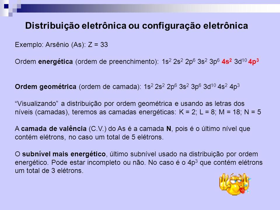 Distribuição eletrônica ou configuração eletrônica Exemplo: Arsênio (As): Z = 33 Ordem energética (ordem de preenchimento): 1s 2 2s 2 2p 6 3s 2 3p 6 4