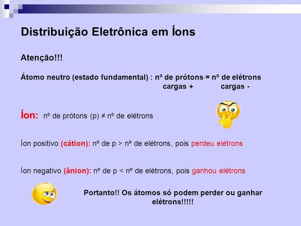 Distribuição Eletrônica em Íons Atenção!!! Átomo neutro (estado fundamental) : nº de prótons = nº de elétrons cargas + cargas - Íon: nº de prótons (p)