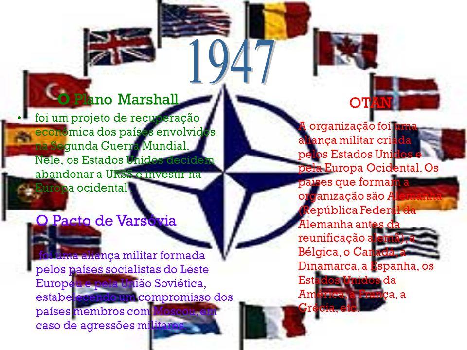 O Plano Marshall foi um projeto de recuperação econômica dos países envolvidos na Segunda Guerra Mundial. Nele, os Estados Unidos decidem abandonar a