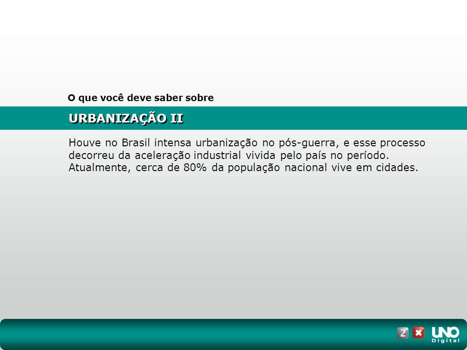 URBANIZAÇÃO II O que você deve saber sobre Houve no Brasil intensa urbanização no pós-guerra, e esse processo decorreu da aceleração industrial vivida