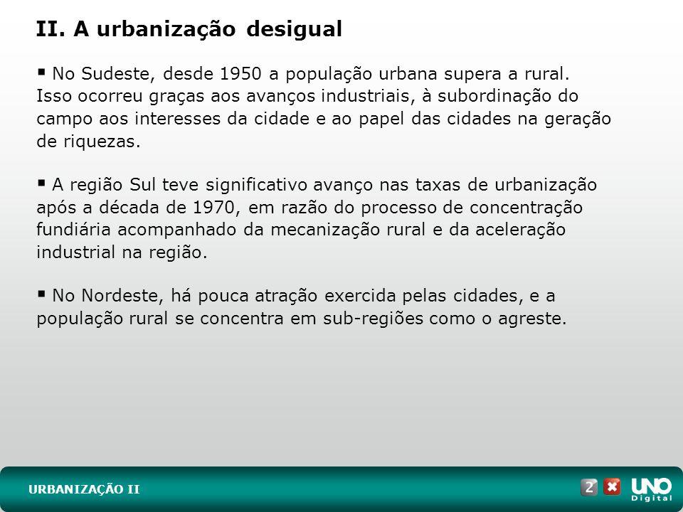 II. A urbanização desigual URBANIZAÇÃO II No Sudeste, desde 1950 a população urbana supera a rural. Isso ocorreu graças aos avanços industriais, à sub