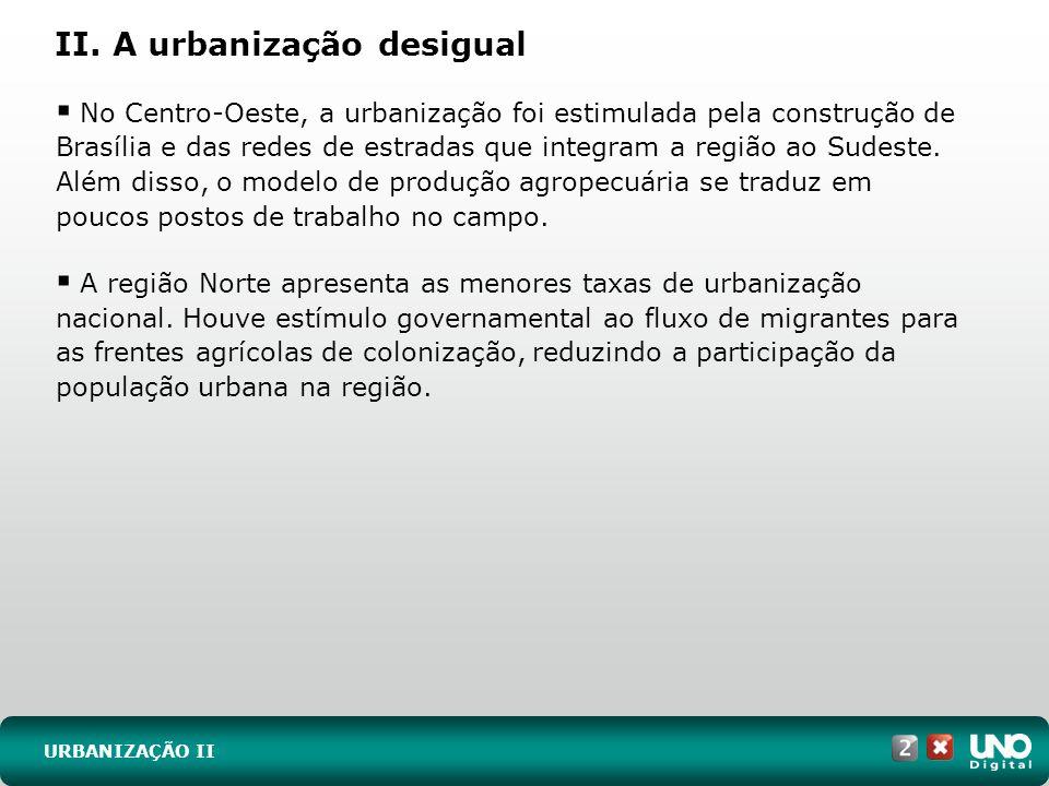 URBANIZAÇÃO II No Centro-Oeste, a urbanização foi estimulada pela construção de Brasília e das redes de estradas que integram a região ao Sudeste. Alé