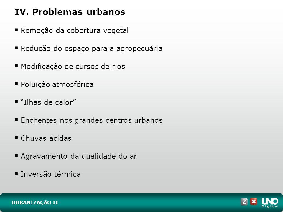 IV. Problemas urbanos URBANIZAÇÃO II Remoção da cobertura vegetal Redução do espaço para a agropecuária Modificação de cursos de rios Poluição atmosfé