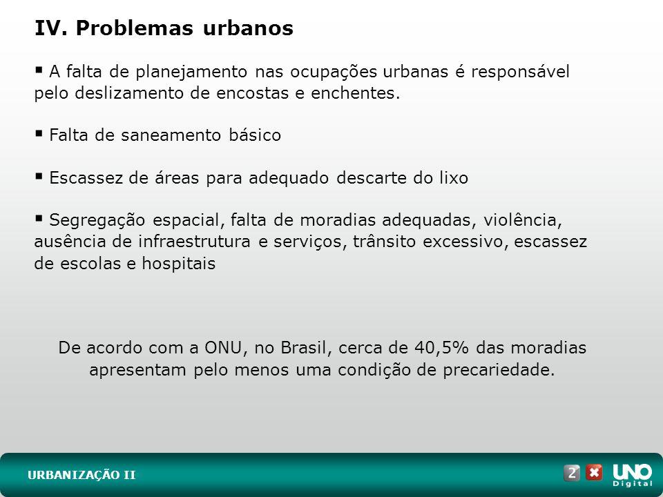 IV. Problemas urbanos URBANIZAÇÃO II A falta de planejamento nas ocupações urbanas é responsável pelo deslizamento de encostas e enchentes. Falta de s