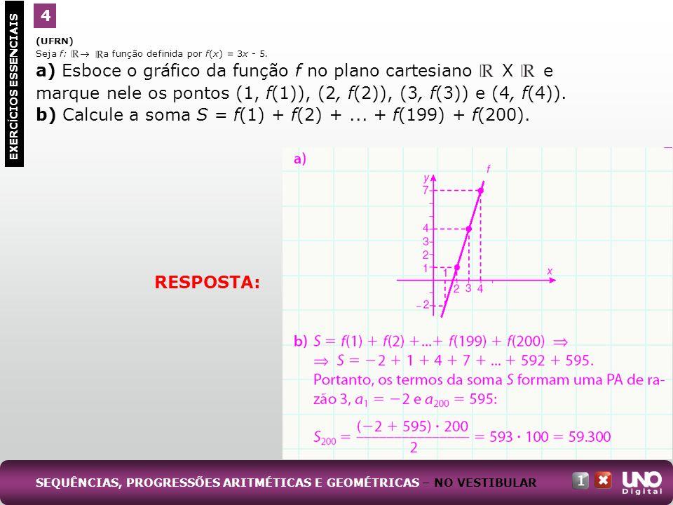 (UFRN) Seja f: a função definida por f(x) = 3x - 5. a) Esboce o gráfico da função f no plano cartesiano X e marque nele os pontos (1, f(1)), (2, f(2))