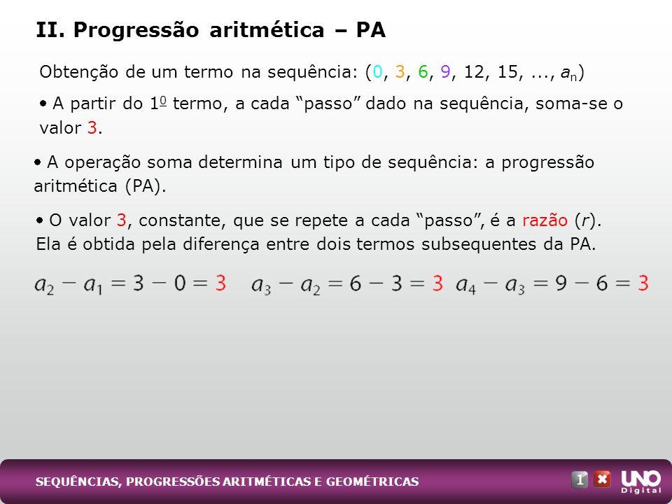 II. Progressão aritmética – PA Obtenção de um termo na sequência: (0, 3, 6, 9, 12, 15,..., a n ) A partir do 1 0 termo, a cada passo dado na sequência