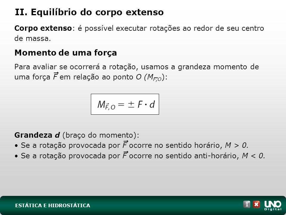 Na figura, a barra tende a rodar em torno do ponto O em sentido anti-horário; logo, usamos a convenção e M F,O = -F.